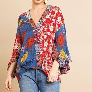 boho top mix print v neck ruffle sleeve shirt